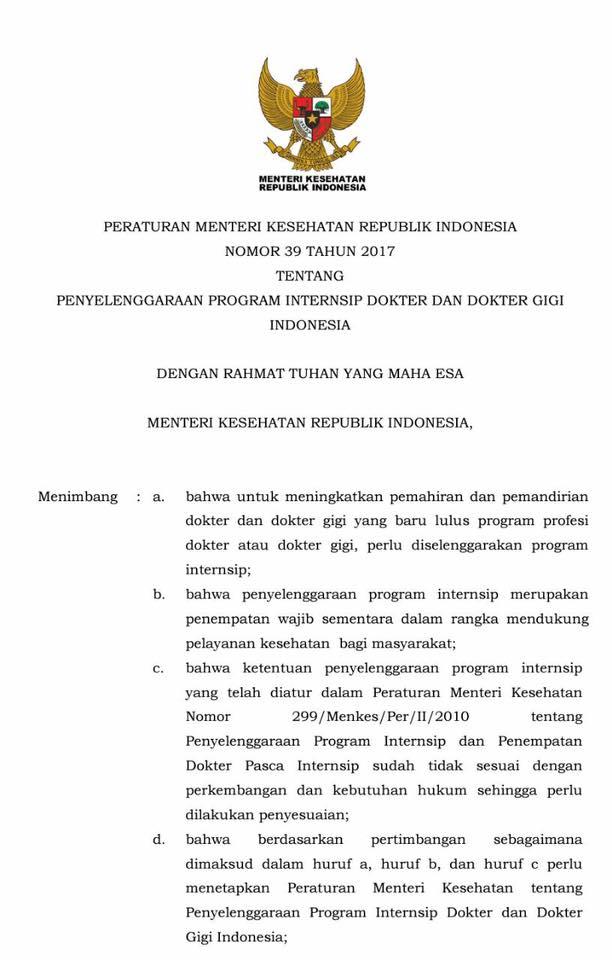 UU 39 Tahun 2017 Tentang Internship Dokter Dan Dokter Gigi